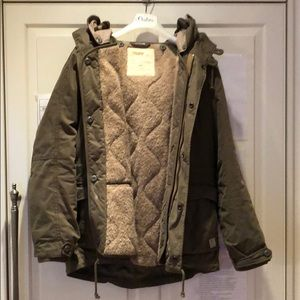 Winter military jacket with teddy lined interior